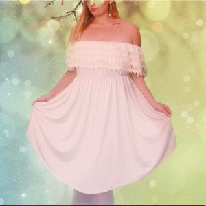 Off the shoulder cream/white dress